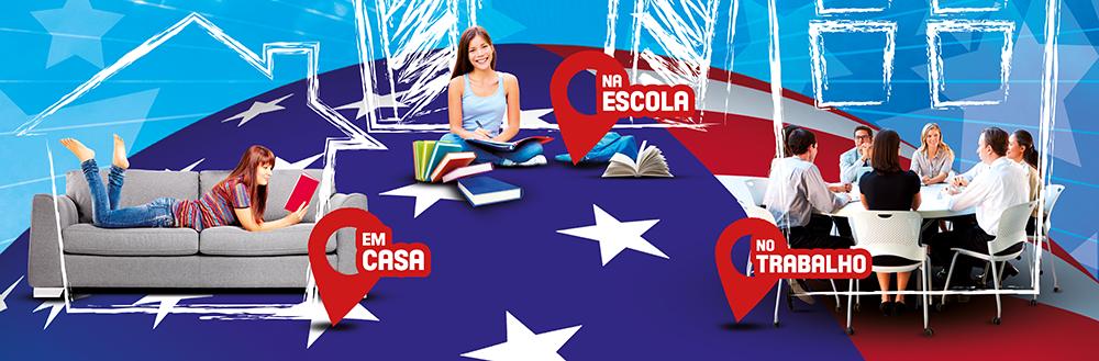 Inglês em Casa; Inglês na Escola; Inglês no Trabalho